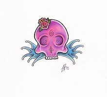Pink skulls water by Leighmen