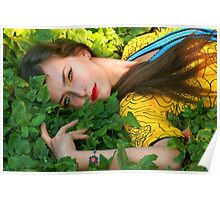Attractive woman lying in the green grass Poster