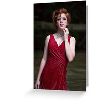 Outdoor fashion portrait of young sexy model woman Greeting Card