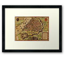 Vintage Map of Antwerp Belgium (1572) Framed Print