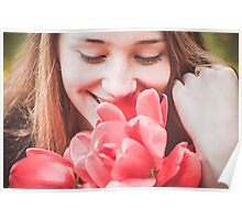 Happy woman with red flowers Poster