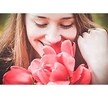 Happy woman with red flowers Photographic Print