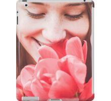 Happy woman with red flowers iPad Case/Skin