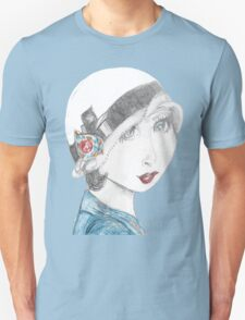 Art Deco Inspired Flapper In Reds and Blues Unisex T-Shirt