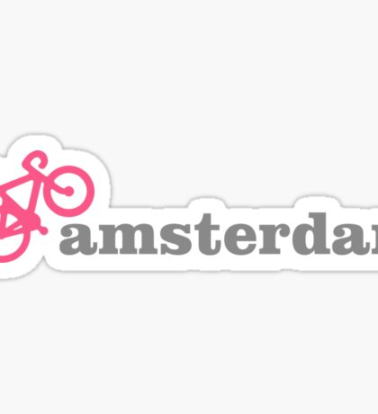 I Love Amsterdam - Pink Bike Sticker