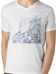 Abstracted Female Portrait Mens V-Neck T-Shirt