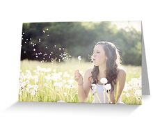 Beautiful girl playing with flowers Greeting Card