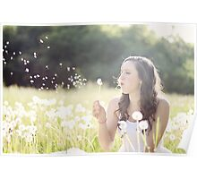 Beautiful girl playing with flowers Poster