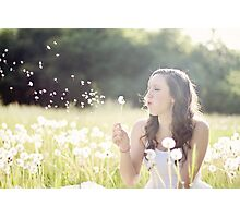 Beautiful girl playing with flowers Photographic Print