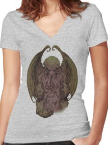 Cthulhu - God Of Cosmic Horror Women's Fitted V-Neck T-Shirt