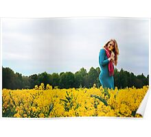 Blonde woman in a yellow flowers field Poster