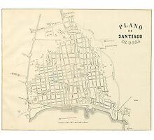 Vintage Map of Santiago de Cuba (1899) Photographic Print