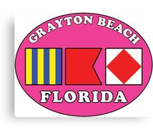 GRAYTON BEACH FLORIDA EURO OVAL NAUTICAL FLAG PINK Canvas Print