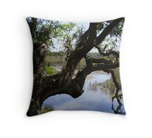 Old Tree Reaching Over To Taste The Water Throw Pillow