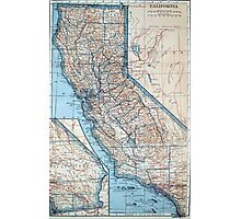 Vintage Map of California (1921) Photographic Print