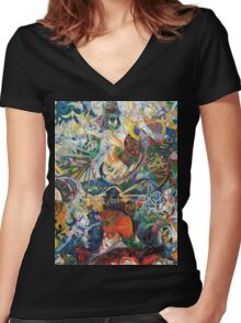 Abstract painting by Joseph Stella Women's Fitted V-Neck T-Shirt