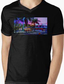 Miami - Dan ART Yellow Taxi Cab Sunset Street Scene Mens V-Neck T-Shirt