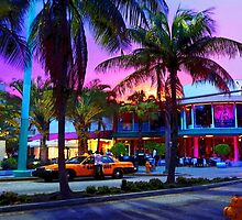Miami - Dan ART Yellow Taxi Cab Sunset Street Scene by Dan Forder