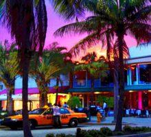Miami - Dan ART Yellow Taxi Cab Sunset Street Scene Sticker