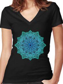 Mandala *green, blue & black* Women's Fitted V-Neck T-Shirt
