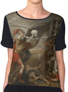 Joshua at the battle of Ai attended by Death by John Trunbul Chiffon Top