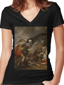 Joshua at the battle of Ai attended by Death by John Trunbul Women's Fitted V-Neck T-Shirt