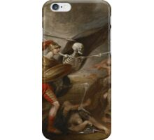 Joshua at the battle of Ai attended by Death by John Trunbul iPhone Case/Skin