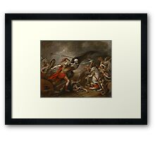 Joshua at the battle of Ai attended by Death by John Trunbul Framed Print