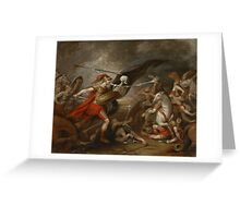 Joshua at the battle of Ai attended by Death by John Trunbul Greeting Card