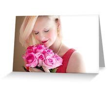 Beautiful Girl With Orchid Flowers Greeting Card