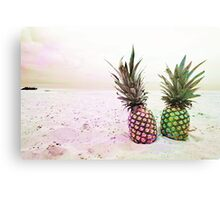 Neon Pineapples  Canvas Print