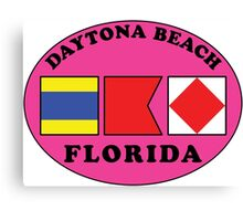 DAYTONA BEACH FLORIDA EURO OVAL NAUTICAL FLAG PINK Canvas Print