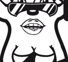 rock n roll hard metal heavy spielen gitarre elektro musik e-gitarre band konzert girl frau weiblich mädchen sexy kleid hübsch blume hot schön igel  Sticker