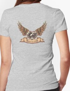 motorheart with wings Womens Fitted T-Shirt