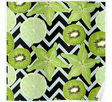 pattern with green fruits Poster