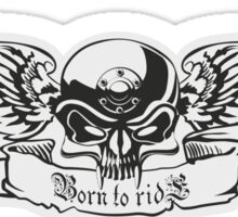 B&W metal skull with wings Sticker