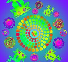 Aztec Pre-Colombian Psychedelic Lily Pond With Frogs by Candace Byington
