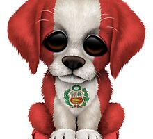 Cute Patriotic Peruvian Flag Puppy Dog by Jeff Bartels