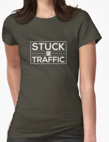 Stuck In Traffic White Womens Fitted T-Shirt