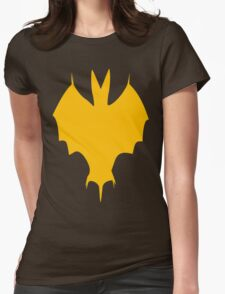 Orange-Yellow Silhouette Of a Bat  Womens Fitted T-Shirt