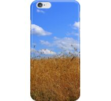 Wheat Field in Country with Open Blue Sky and Clouds iPhone Case/Skin