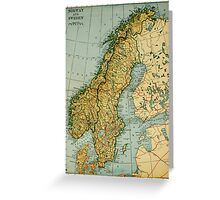 Vintage Map of Norway and Sweden (1921) Greeting Card
