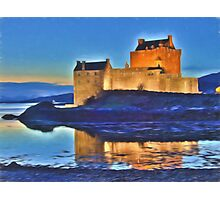 Eilean Donan Castle HDR , the Highlands , Scotland. Digital painting of iconic Scottish castle Photographic Print