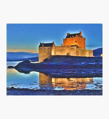 Eilean Donan Castle HDR , the Highlands , Scotland. Digital painting of iconic Scottish castle Photographic Print