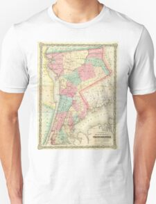 Vintage Map of Westchester New York (1864) Unisex T-Shirt