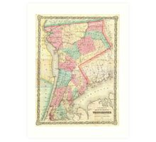 Vintage Map of Westchester New York (1864) Art Print