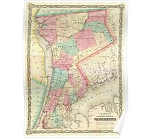 Vintage Map of Westchester New York (1864) Poster