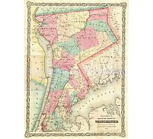 Vintage Map of Westchester New York (1864) Photographic Print