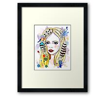 Girl-bird Framed Print