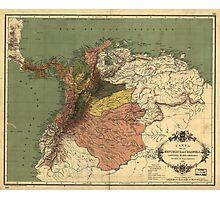 Vintage Map of Columbia (1886) Photographic Print
